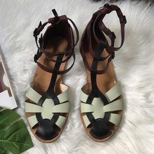 Loeffler Randall Steph Colorblock T-Strap Sandals